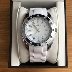 ANNE KLEIN white ceramic watch Swarovski crystals